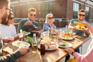 friends enjoying summer picnic